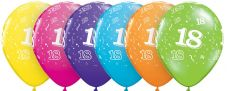 18th Assorted Colour Balloons 6 Pack